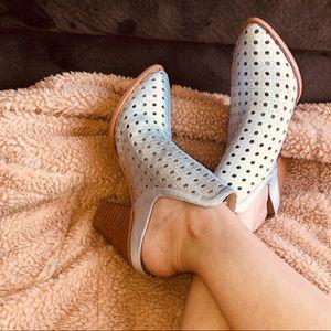 The Fix metallic block heel mules